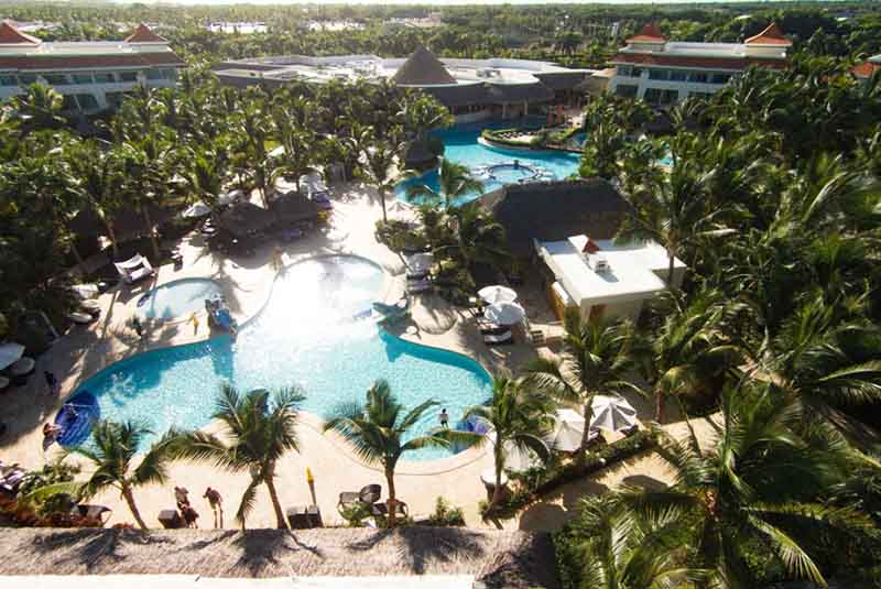 Aerial photo of pool area in Reserve at Paradisus Palma Real resort in Punta cana
