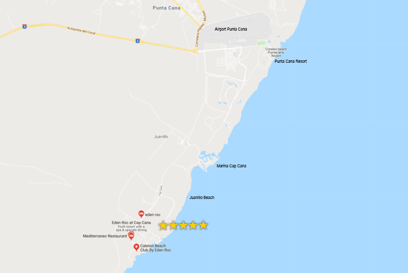 Map to find Eden Roc hotel in Cap Cana