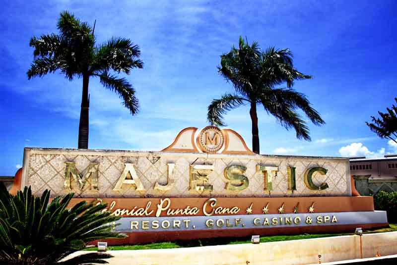 hotels entrance sign Majestic Colonial in Punta Cana - Dominican Republic