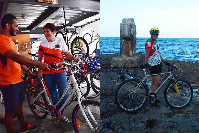 woman getting information about mountain bike rental in Bavaro - Punta Cana