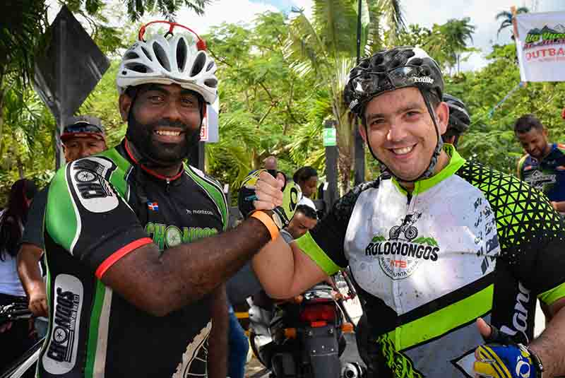 smiling mountain bikers in Punta Cana - Dominican Republic