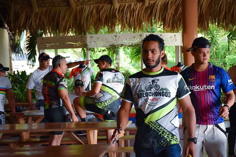 man with local mountain bike club uniform on ranch in Anamuya - Dominican Republic