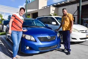 Otback Adventures staff with local taxi driver and his car in Bavaro - Punta Cana