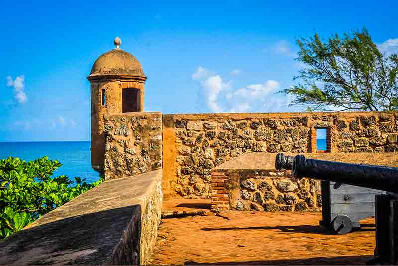 canons at historical fortress San Felipe in Puerto Plata - Dominican Republic