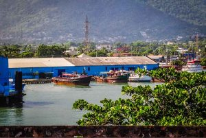 view to Puerto Plata port with fishing boats - Dominican Republic
