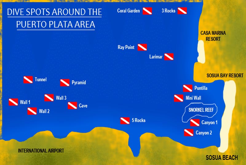 map for scuba diving tours in Puerto Plata - Dominican Republic