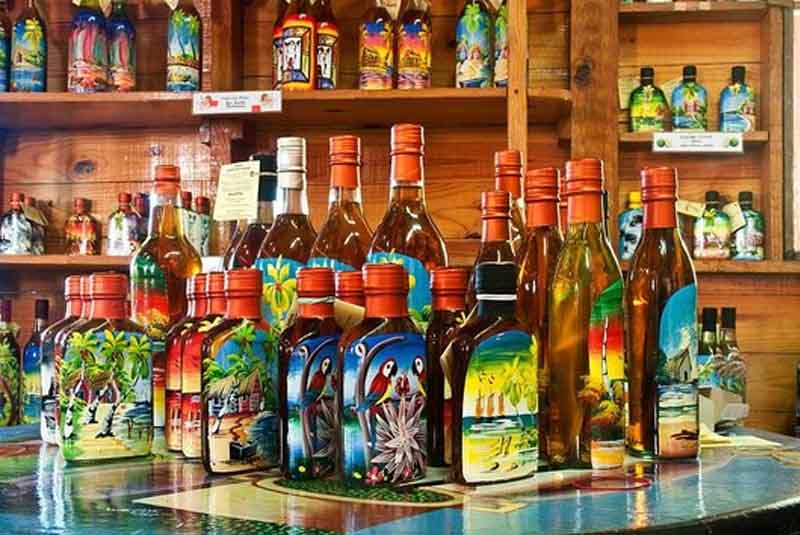 painted rum bottles at Mi Amor rum factory in Punta Cana - Dominican Republic