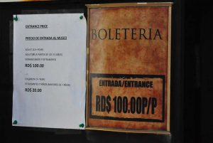 entrance sign with prices at Fortress San Felipe in Puerto Plata