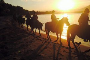 group riding horses at sunset in Dominican Republic