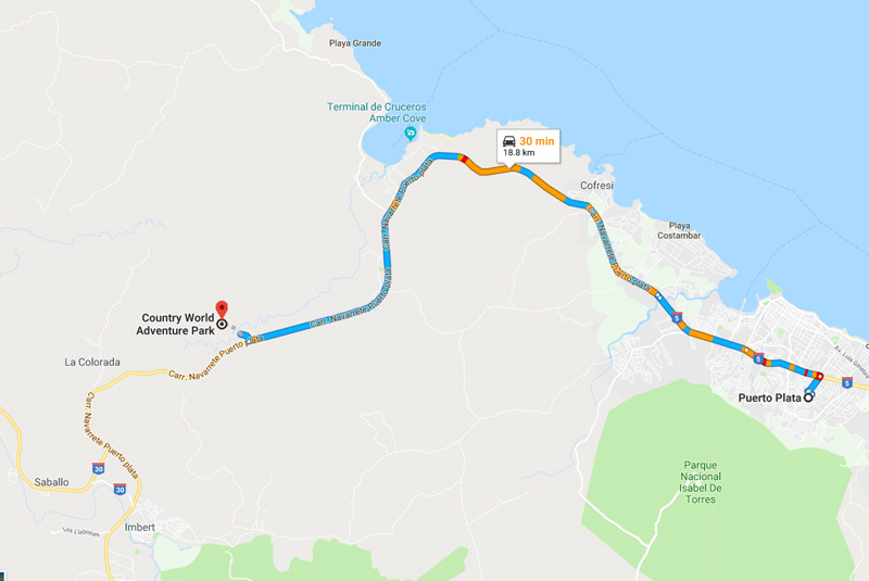 map to find Country World Adventure Park in Puerto Plata - Dominican Republic