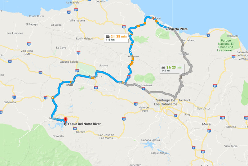 road map for white water rafting start place in Dominican Republic