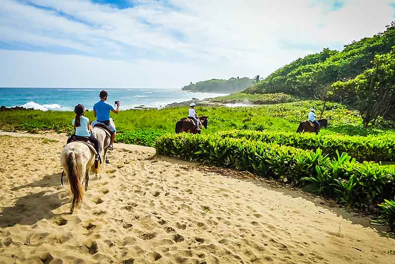 group horseback riding at sea horse ranch in Sosua - Dominican Republic