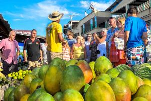 people at local fruit market in Puerto Plata - Dominican Republic
