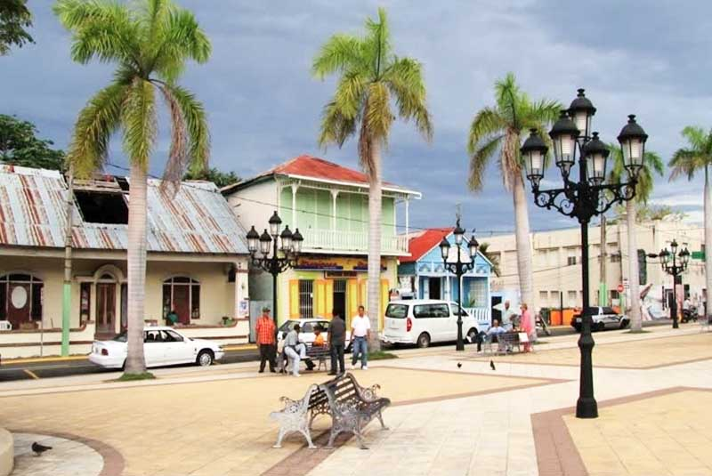 view at local shops and houses at Central Park in Puerto Plata - Dominican Republic