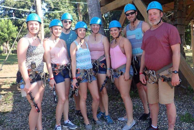group posing at zip lining park in Puerto Plata - Dominican Republic