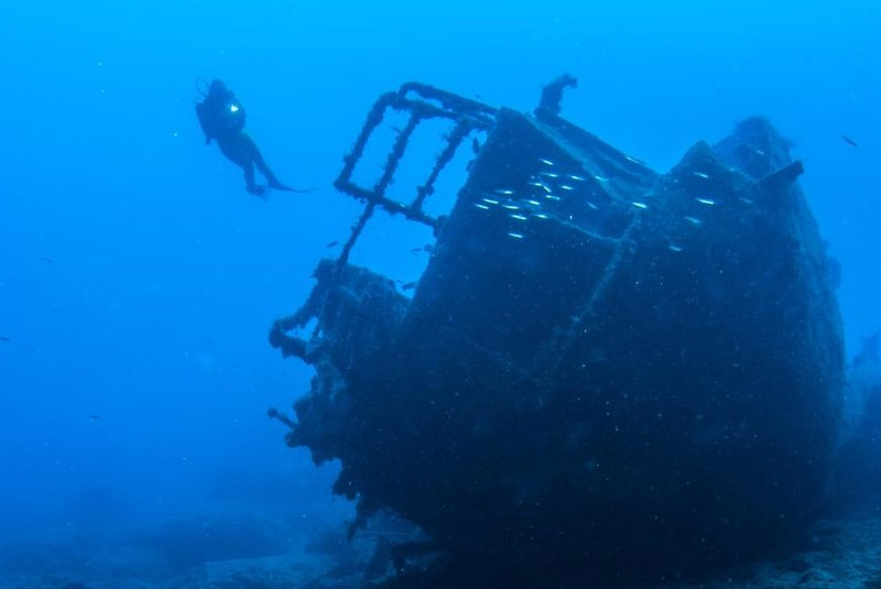 diver on ship wreck in Puerto Plata - Dominican Republic
