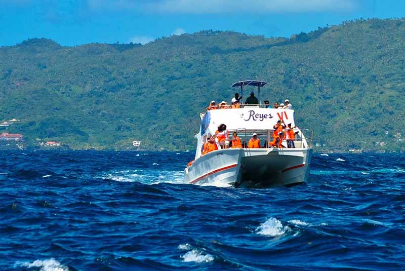Whale watching boat in Samana- Dominican Republic