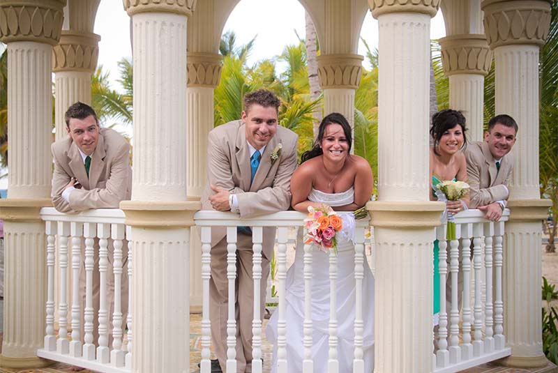 couple with wedding group in Gazebo in Puerto Plata hotel