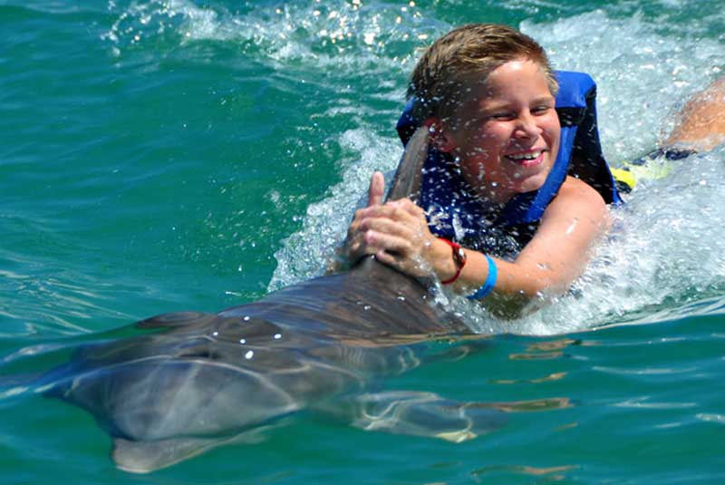boy getting pulled by dolphin in Punta Cana - Dominican Republic