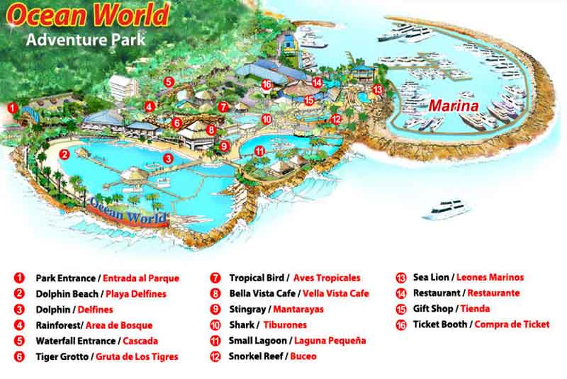 map of Ocean World in Puerto Plata - Dominican Republic
