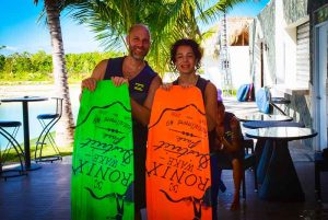 father and son smiling holding wake board equipment in Punta Cana - Dominican Republic