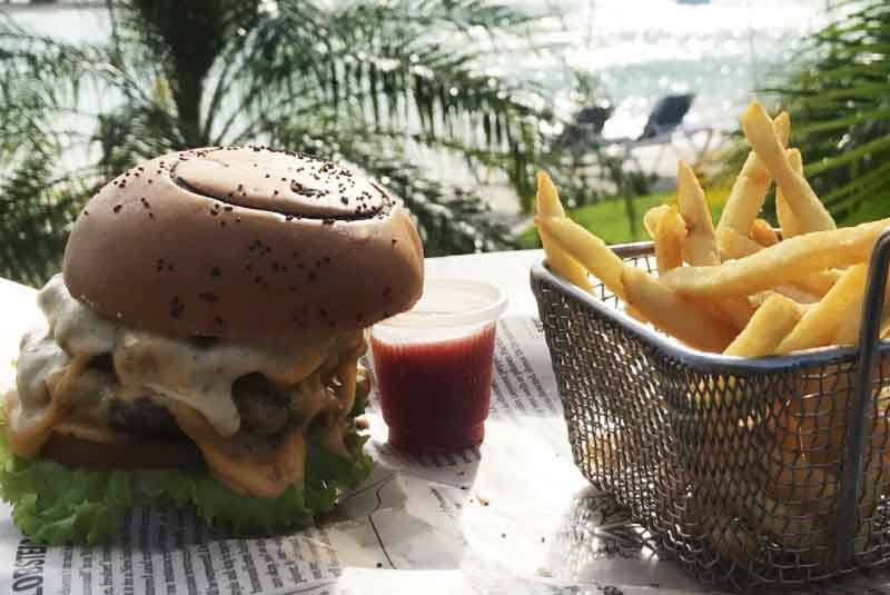 burger an fries meal at Rad Park Punta Cana - Dominican Republic