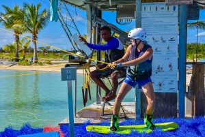 girl is ready to start wake boarding at Rad Park Punta Cana - Dominican Republic
