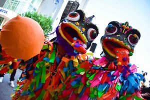 Colorful Carnival performers at the Punta Cana Carnival - Dominican Republic