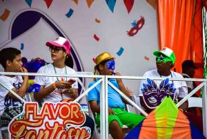 family having a great time on one of the Carnival stages in Punta Cana - Dominican Republic
