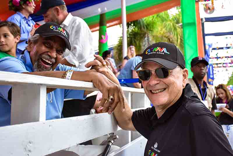 Frank Reiniri greeting personally guests at Punta Cana Carnival - Dominican Republic