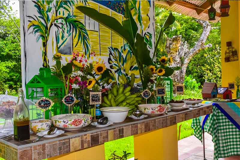 delicious bufet with traditional and most authentic food at Campito Loving in Punta Cana