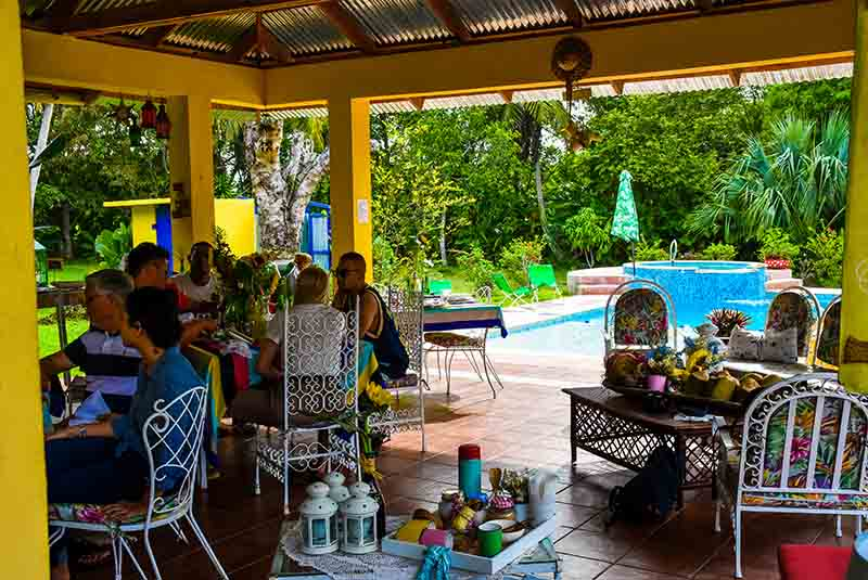 outside lunch area with view over the gardens and pool area at Campito Loving - Punta Cana